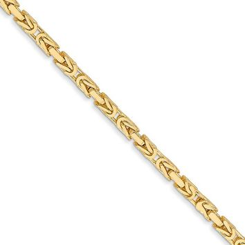 2mm, 14k Yellow Gold, Solid Byzantine Chain Necklace