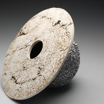 Abstract ceramic sculpture with unique texture