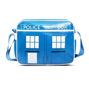 Doctor Who 50th Anniversary Tardis Design Public Box Messager Shoulder School Bag With Tag