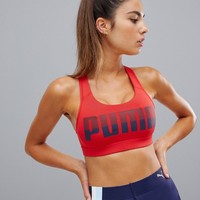 Puma Logo Racerback Bra In Red at asos.com