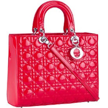 Dior Medium Lady Cannage Bag Patent Leather Red