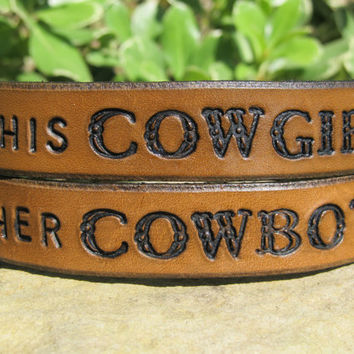 Sarah's Artistry - His Hers Hand Tooled Leather Bracelet Cuff - Her Cowboy His Cowgirl - Set of Two, Pair of Bracelets - Snap