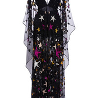 Long Kaftan Dress With Embroidered Multicolor Stars | Moda Operandi