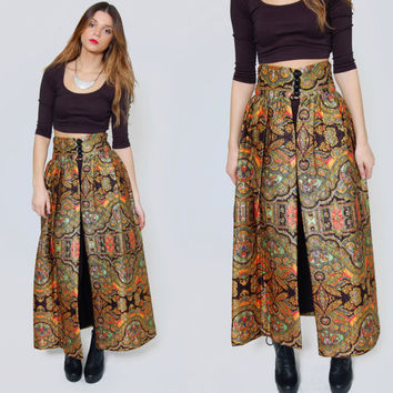 Vintage 60s ETHNIC Print Maxi Skirt High Waisted Skirt QUILTED Hippie Skirt Mod SLIT Skirt