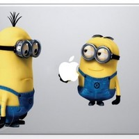 Despicable Me Minion holding Apple Macbook Decal skin sticker
