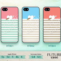 Heart iPhone 4 Case Coral Heart Colorful Stripes Love Short Heart iphone Case iphone 4s case iphone 4g case Hard or Soft Printed Case-HTB03