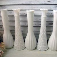 Vintage Set of 5 Milk Glass Flower Vases, Shabby Chic White Flower Bud Vases, Wedding Decor