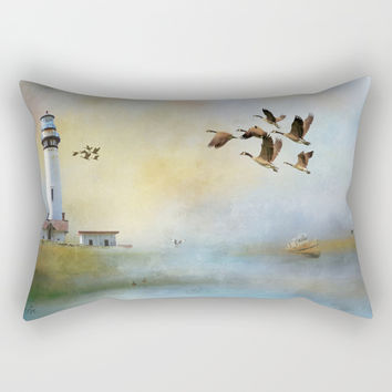 Lighthouse Bay II Rectangular Pillow by Theresa Campbell D'August Art