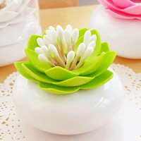Exquisite Lotus Cotton Bud Holder Toothpick Cotton Swab holder Case organizer Container plastic Storage Box Home
