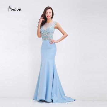 Finove Beading Baby Blue Prom Dresses 2017 Fall New Arrival See-Through Tulle Elegant Mermaid Sweep Train Long Dresses for Women