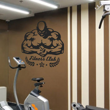 kik526 Wall Decal Sticker  pumped man sport of bodybuilding muscle workout gym fitness room