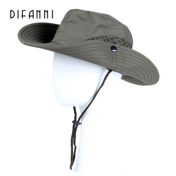Difanni Summer Men Women Solid color Bucket hat with string Fisherman Cap Military panama safari boonie hiking hat unisex sunhat
