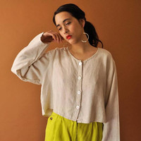 Linen Crop Top Vintage 90s FLAX Blouse Jeanne Engelhart Boxy Long Sleeve Shirt Minimal Linen Blouse Simple Beige Cropped Blouse Medium