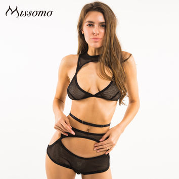 Missomo 2017 New Fashion Women Black Sexy Trim Wireless Bralettes Nets Underwear Lingeries Soft Breathable Panties Bra Sets