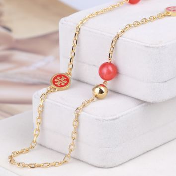 Tory Burch Women Fashion New Pearl High Quality Long Necklace Sweater Chain Red