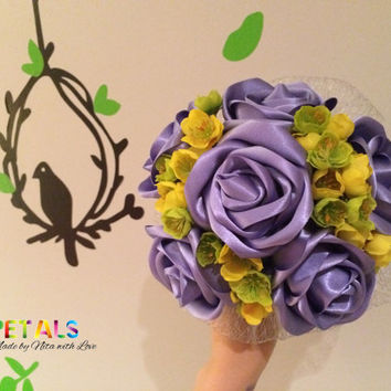 Satin Ribbon Rose Wedding Bouquet in Lilac/Purple with wild yellow/green silk flowers, Handmade Satin