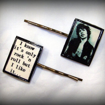 Handmade Polymer Clay Rolling Stones Mick Jagger I know It's Only Rock 'n Roll Antique Bronze Bobby Pins Set