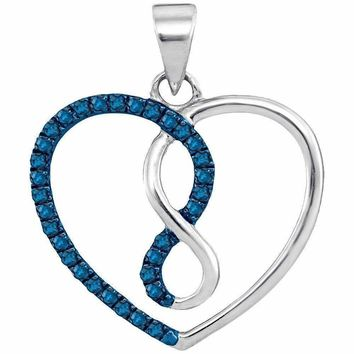 10kt White Gold Women's Round Blue Color Enhanced Diamond Heart Infinity Pendant 1-8 Cttw - FREE Shipping (US/CAN)