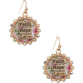 Faith hop love rhinestone framed dangle earring