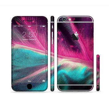 The Neon Pink & Green Leaf Sectioned Skin Series for the Apple iPhone 6 Plus
