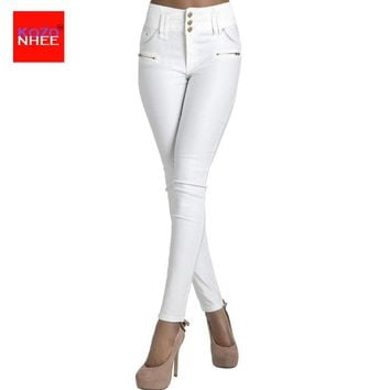 White Stretching Jeans With High Waist Thigh Skinny jeans Woman For Girls Denim Elastic Slim Pencil Jean