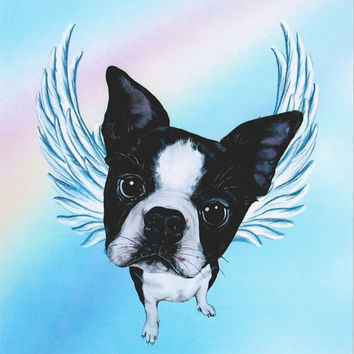 Boston Terrier Angel - Boston Terrier Art - Terriers - Dog Angels - Guardian Angels - Pet Memorial - Rainbow Bridge - Weeze Mace - 8x10