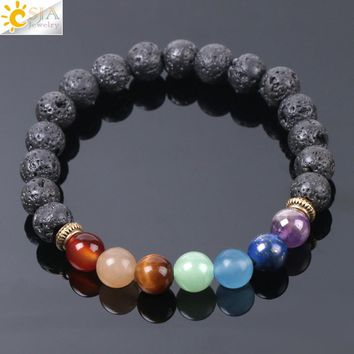 CSJA Natural Black Lava Beads Men Bracelets Muti-color 7 Chakra Mala Stone Prayer Meditation Diffuser Energy Reiki Jewelry E955