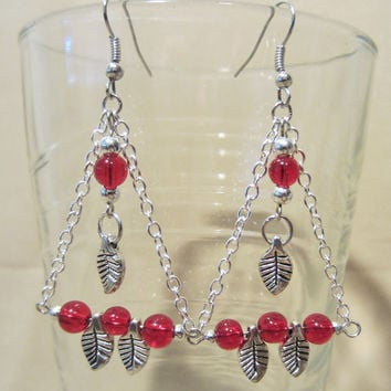 Colorful Glass Bead, Silver Leaf & Silver Chain Chandelier Earrings, Handmade, Fashion Jewelry, Funky, Edgy, Bold, Original Design, Colorful