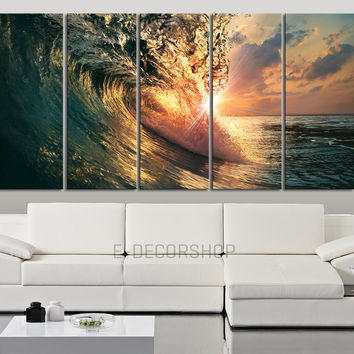 Large Wall Art Canvas Wonderful Sunrise Inside Bright Ocean Wave Canvas Print - Morning Ocean Landscape Art Canvas Printing Large Wall Art - MC217
