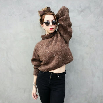 80s Crop Turtleneck Chunky Sweater