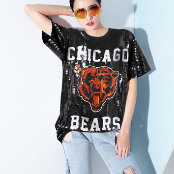 Melinda Style 2016 new women fashion t-shirt short sleeves letter pattern sequined top free shipping