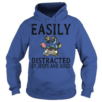 Easily distracted by jeeps and dogs shirt Hoodie