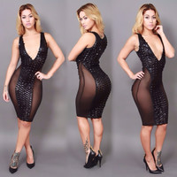 Black Deep V-Neck Cut-Out Leather Bodycon Dress