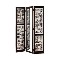 nexxt Preston Series Floor Standing Triple Panel Photo Screen with Mirror, Matted for 42 - 4 by 6-Inch and 2 - 4 by 4-Inch Opening, Espresso