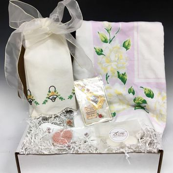 Vintage Inspired Gift Set - Pink & Yellow Floral Tablecloth, Embroidered Guest Towel Linen, Haviland Porcelain Dish & More