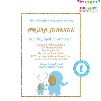 Elephant Baby Shower Invitation, Blue and Gold Baby Shower, Editable Invitation Template, Elephant Invitation Boy, Elephant Invites, ELLBG2