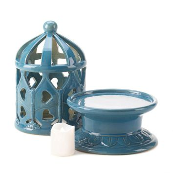 Porcelain Blue Lantern With Led Candle