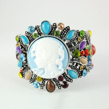 Vintage Style Victorian Lady Cameo Bracelet, Rhinestones Beaded Bracelet,Cuff Bracelet Bracelet Filigree Multiculor