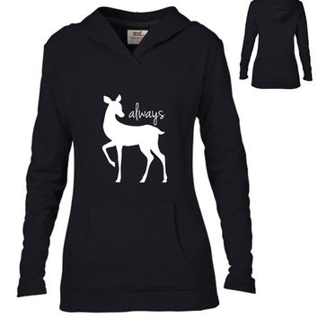 Harry Potter InspiredClothing - Always Doe Semi-Fitted Lightweight Pullover Hoodie - Ladies
