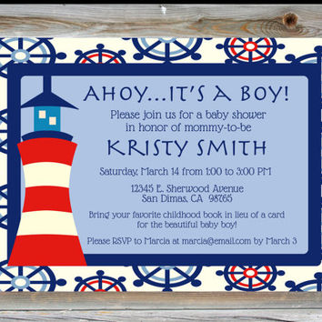 Personalized Custom Nautical Baby Boy Shower Invitation - Lighthouse Baby Shower Invite - Nautical Theme Boy Baby Shower - Ahoy It's a Boy
