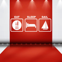 Eat Sleep Sail Wall Decal Boat Ship Ocean Sea Wind Beach Sand Pirate Wall Vinyl Decor Style Wall Art Wall Decal Beach House Stickers tr185