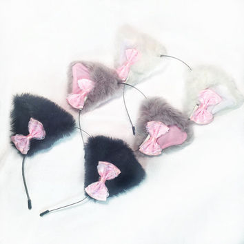 Pink Lace Bow Kitten Ears