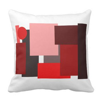 Shades of Red Geometric Abstract Pattern Pillow