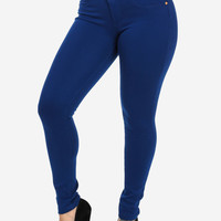 Blue High Waist Butt Lift Stretchy Pants