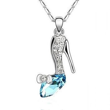 Basket Hill, Silver Plated, Shoe w/ Blue Austrian Crystal Womens Necklace