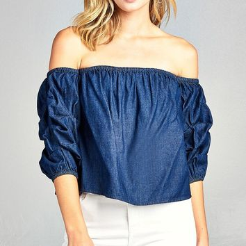 Ladies fashion bubble sleeve off the shoulder chambray top
