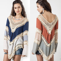 Long Sleeve Knit Splice Irregular Hem Blouse Swimwear Cover Up