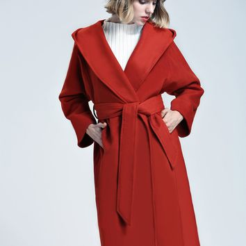 Red Tie Waist Wool Longline Hooded Coat