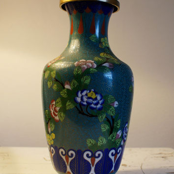 Antique Chinese Cloisonne Vase Teal Floral 1800's
