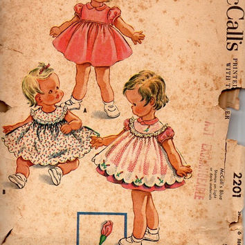 McCall's 2201 Sewing Pattern 50s Girls Party Dress Pinafore Ruffle Easter Full Skirt Round Yoke Baby 6 Months